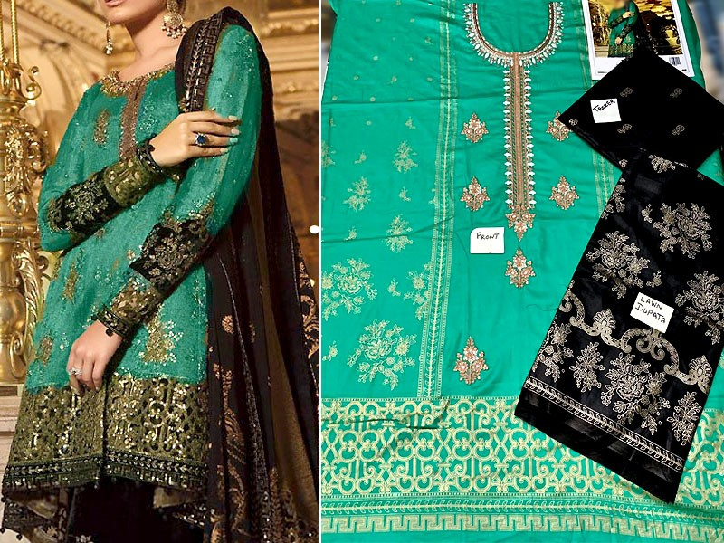 Elegant Embroidered Lawn Suit with Lawn Dupatta