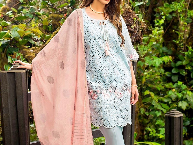 Heavy Schiffli Embroidered Lawn Dress with Karandi Printed Dupatta
