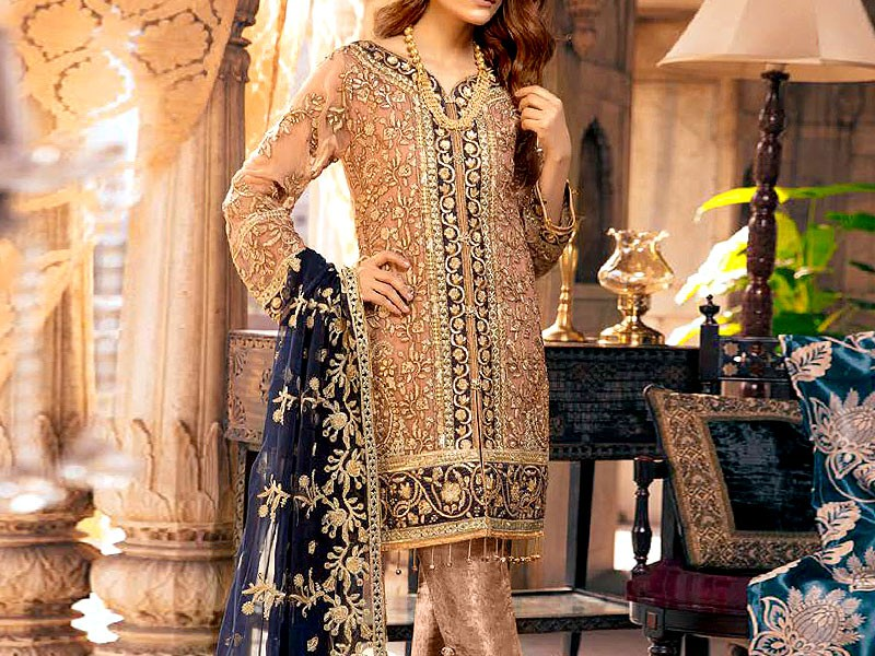 Heavy Handwork Embroidered Chiffon Wedding Dress Price in Pakistan