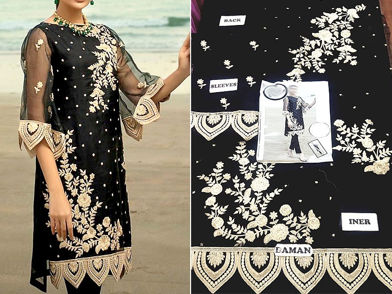 Embroidered Black Organza Kurti with Inner