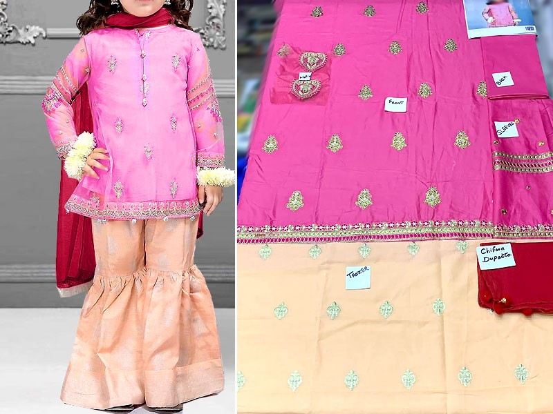 Kids 3-Pcs Embroidered Lawn Suit with Chiffon Dupatta