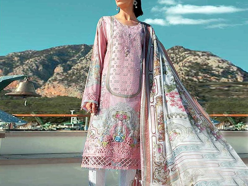 Heavy Embroidered Airjet Lawn Dress with Chiffon Dupatta
