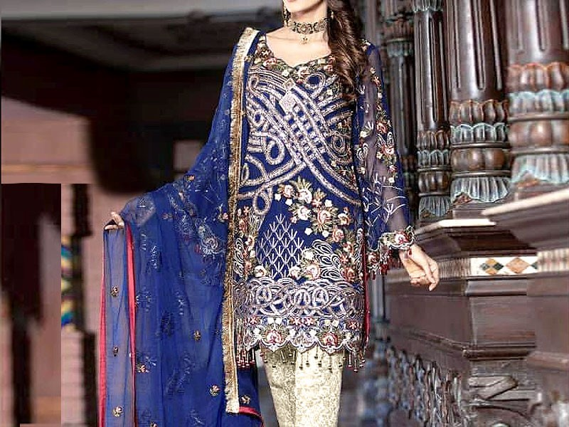 Eid Collection: Heavy Embroidered Lawn Suit with Tie & Dye Chiffon Dupatta