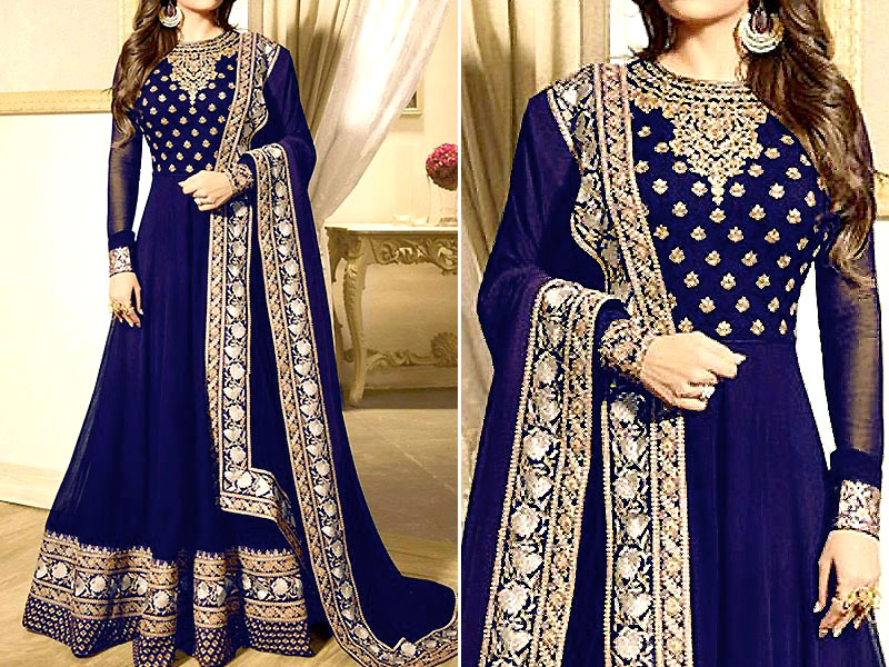 Indian Embroidered Navy Blue Chiffon Maxi