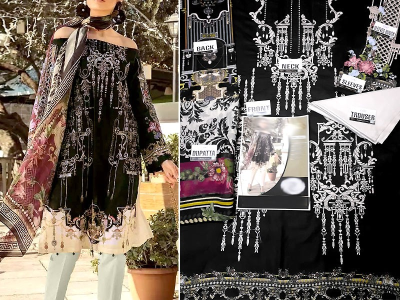 Eid Collection: Heavy Embroidered Black Lawn Dress with Chiffon Dupatta