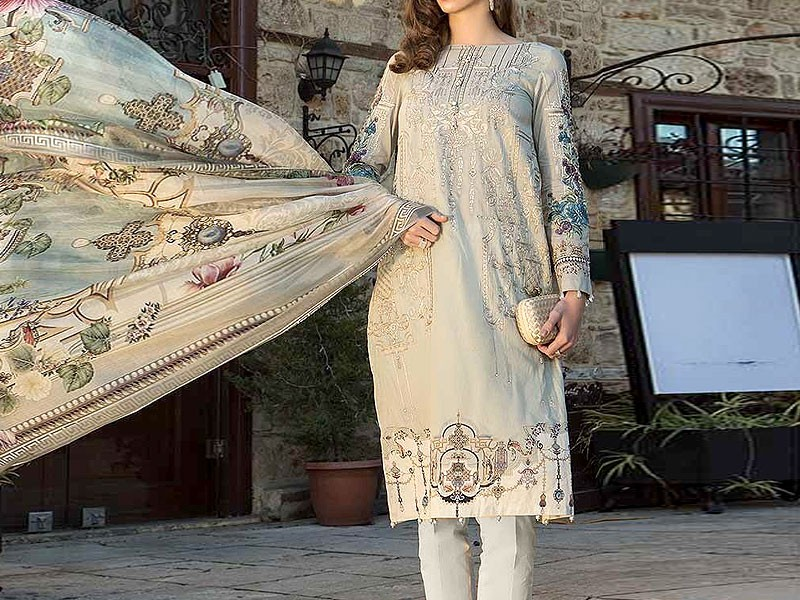 Eid Collection: Heavy Embroidered Lawn Dress with Chiffon Dupatta