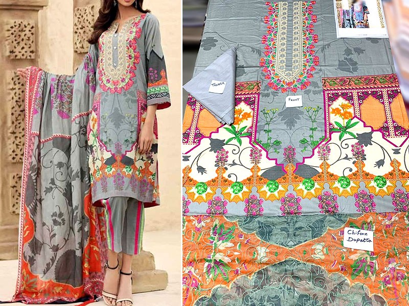 Elegant Embroidered Lawn Dress with Embroidered Chiffon Dupatta