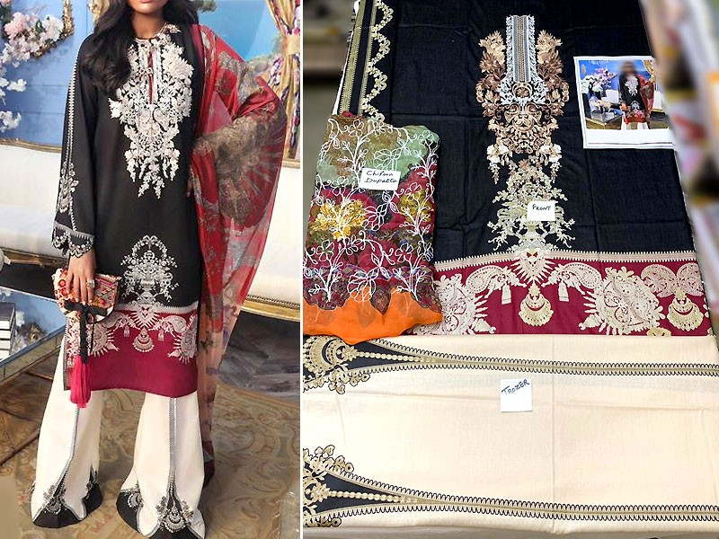 Luxury Embroidered Lawn Dress with Embroidered Chiffon Dupatta Price in Pakistan