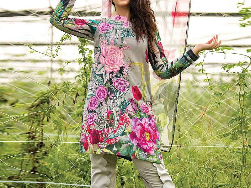 Embroidered Silk Dress with Chiffon Dupatta Price in Pakistan