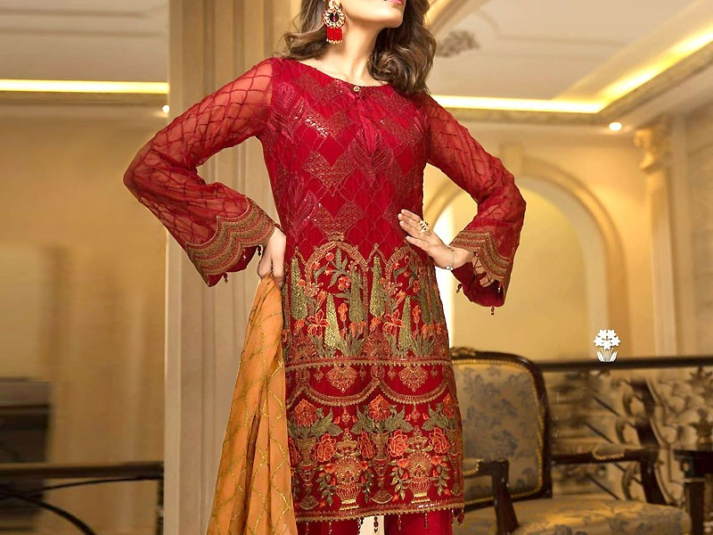 Heavy Embroidered Red Chiffon Dress Price in Pakistan
