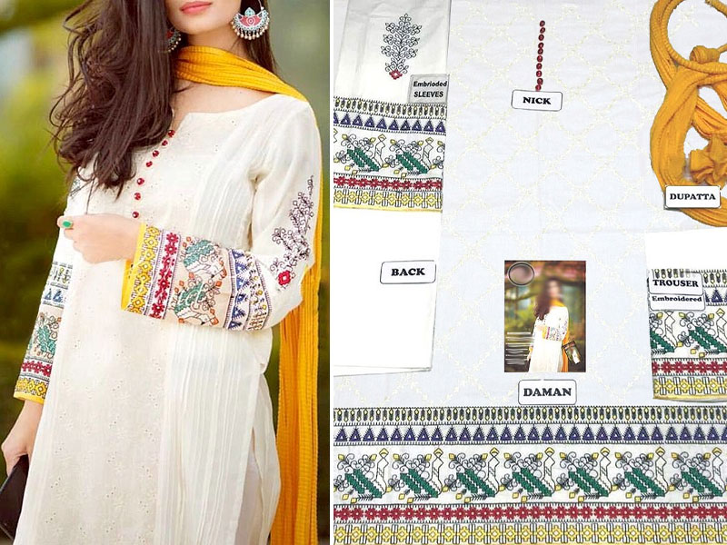 Elegant Embroidered White Cotton Dress with Chiffon Dupatta