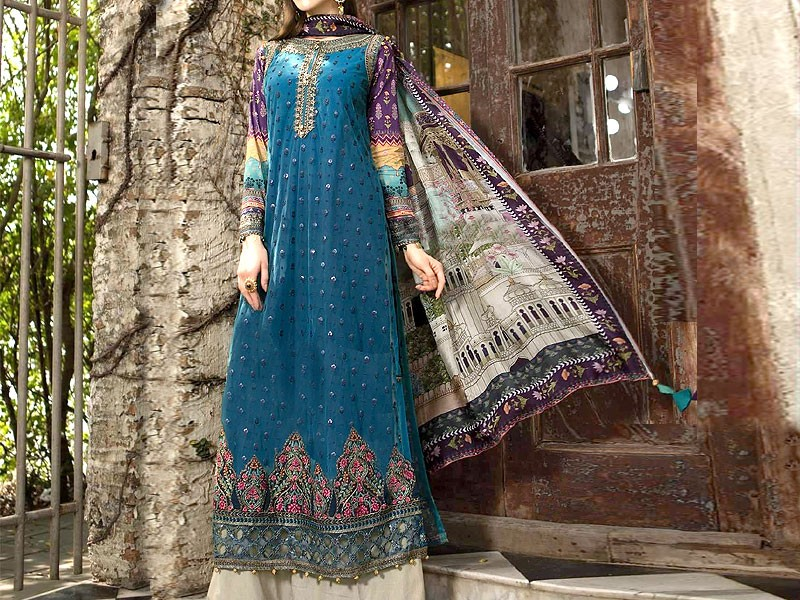 Luxury Embroidered Lawn Suit with Chiffon Dupatta