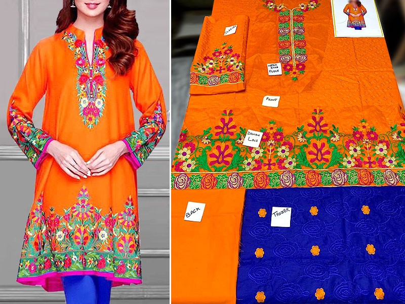 2-Pcs Heavy Embroidered Lawn Dress with Embroidered Trouser