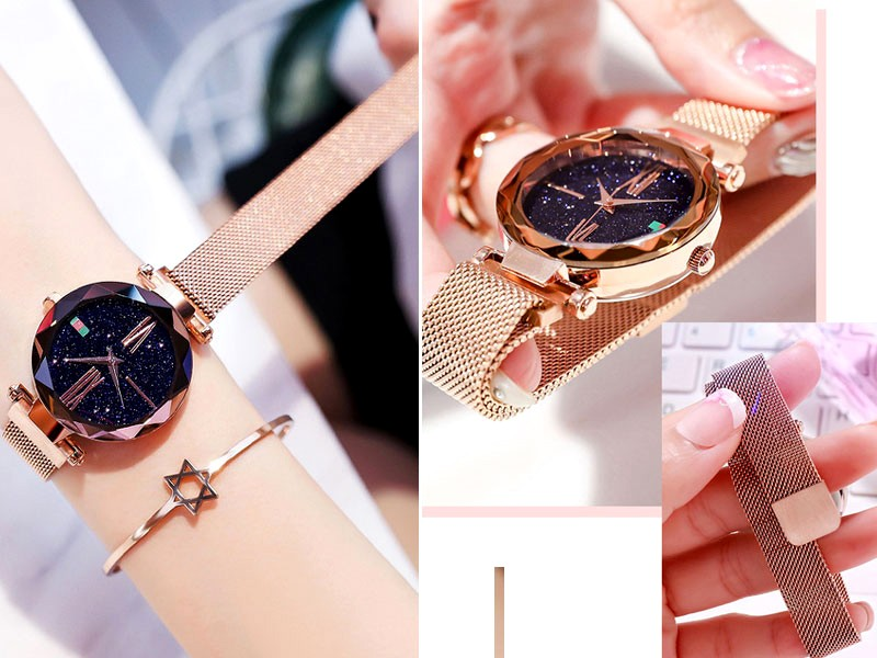 Luxury Magnetic Strap Ladies Watch - Golden