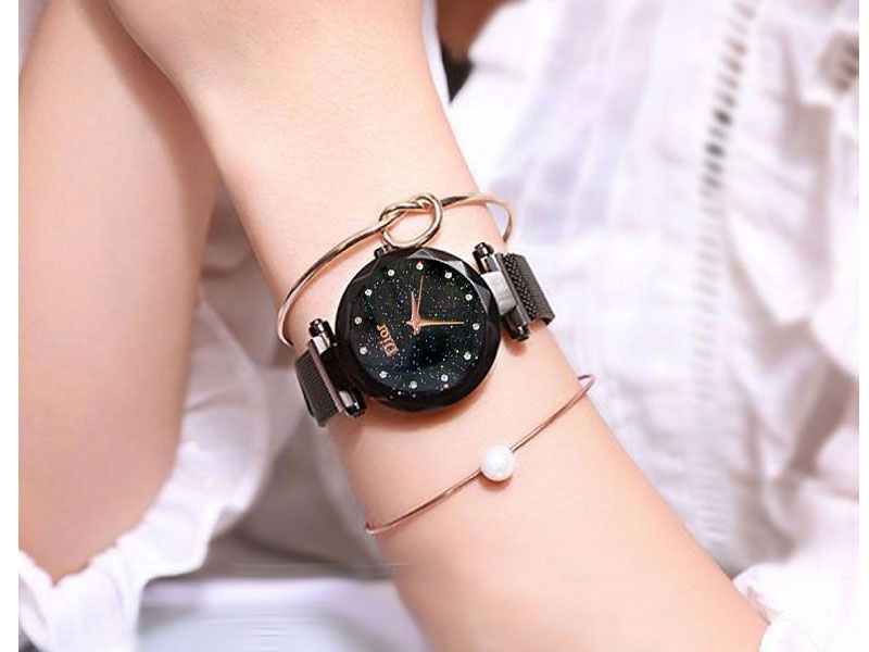 Luxury Magnetic Strap Ladies Watch - Black