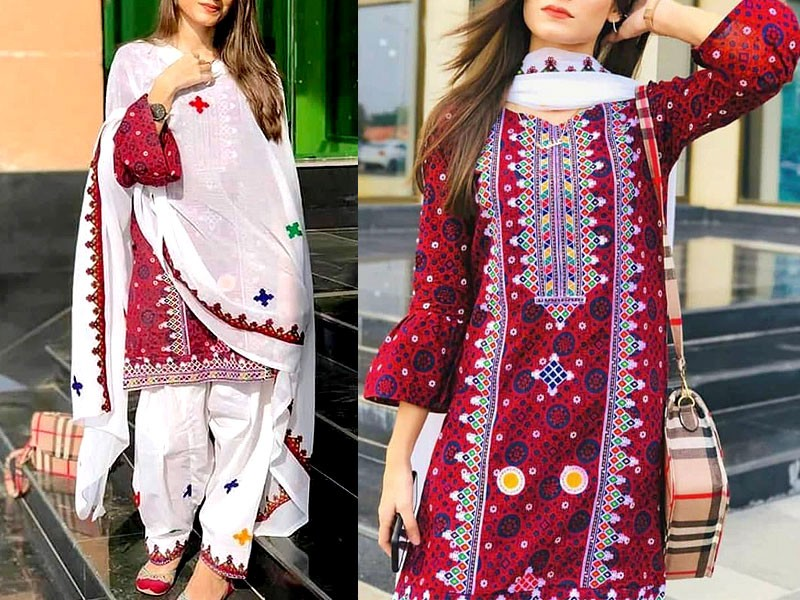 Traditional Embroidered Lawn Dress with Chiffon Dupatta