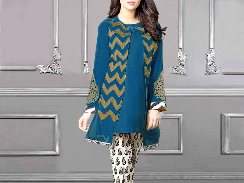 Eid Collection: Heavy Embroidered Lawn Suit with Tie & Dye Chiffon Dupatta Price in Pakistan