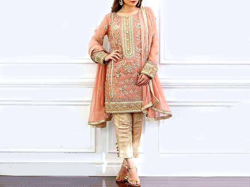 Heavy Embroidered Masoori Net Dress with Jamawar Trouser