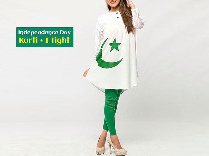 Independence Day Kurti White with Tight Price in Pakistan