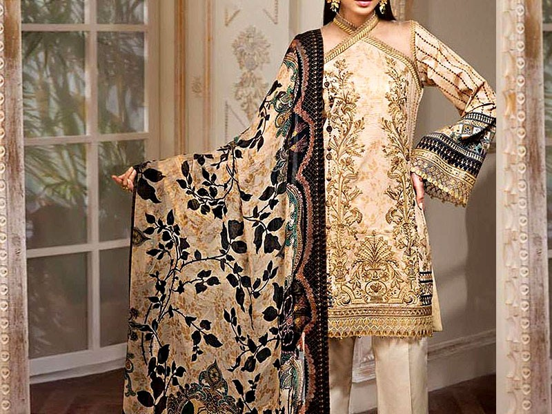 Luxury Embroidered Lawn Dress with Chiffon Dupatta