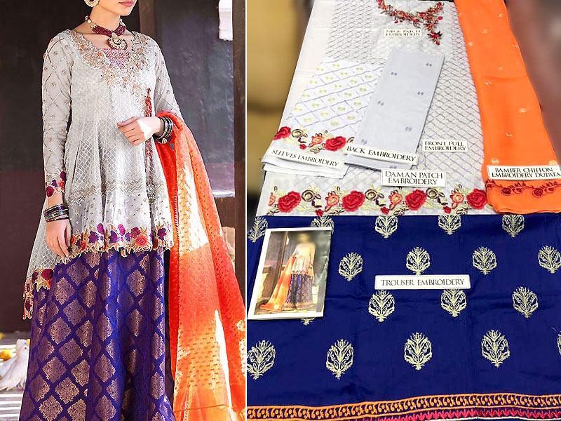 Heavy Embroidered Lawn Suit with Embroidered Chiffon Dupatta