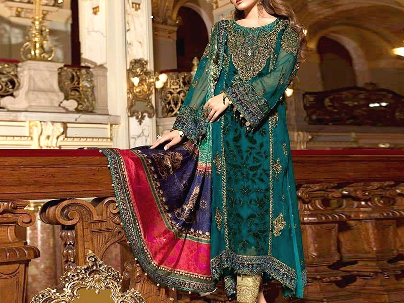 Heavy Embroidered Chiffon Suit with Digital Print Silk Dupatta