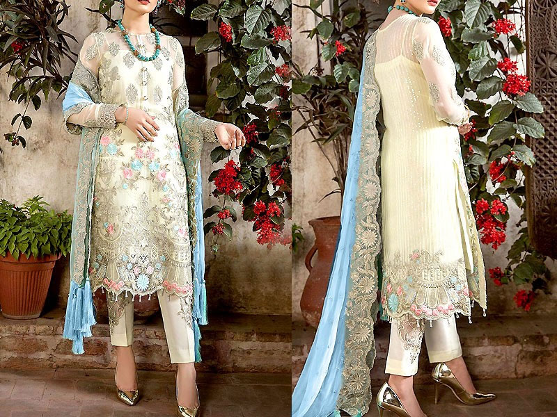 Heavy Embroidered Chiffon Party Dress Price in Pakistan