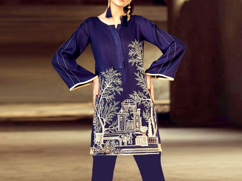 Trendy Embroidered Blue Lawn Dress with Chiffon Dupatta Price in Pakistan