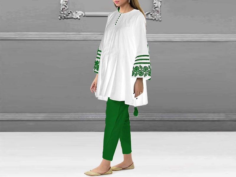 Independence Day Embroidered Tussel Cotton Kurti with Tights