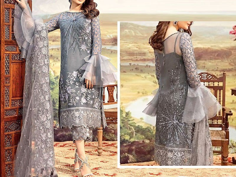 Heavy Embroidered Grey Net Wedding Dress Price in Pakistan