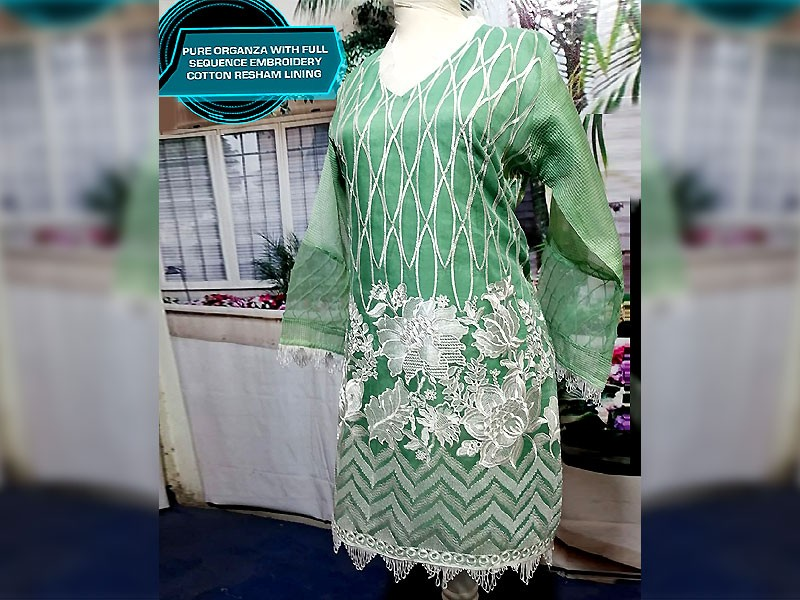 Designer Embroidered Ready-to-Wear Green Organza Kurti Price in Pakistan