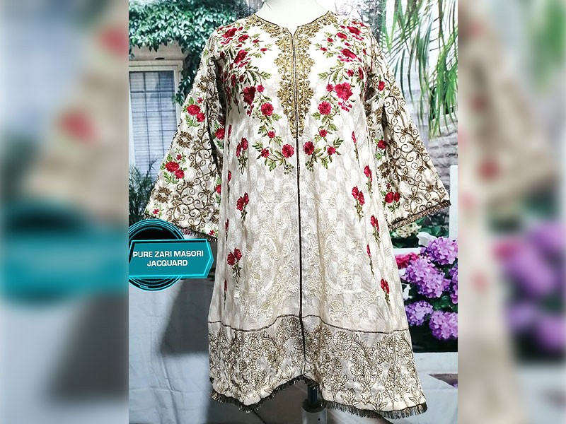 Readymade Designer Embroidered Masoori Net Kurti Price in Pakistan