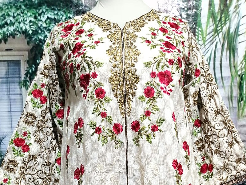 Designer Embroidered Ready-to-Wear Masoori Net Kurti