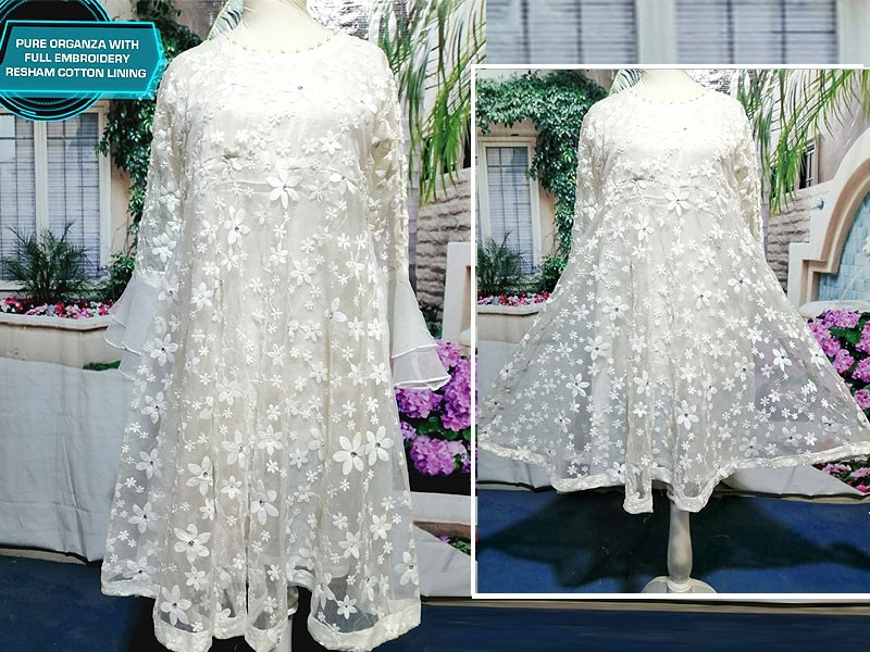 Readymade Designer Embroidered White Organza Frock Price in Pakistan
