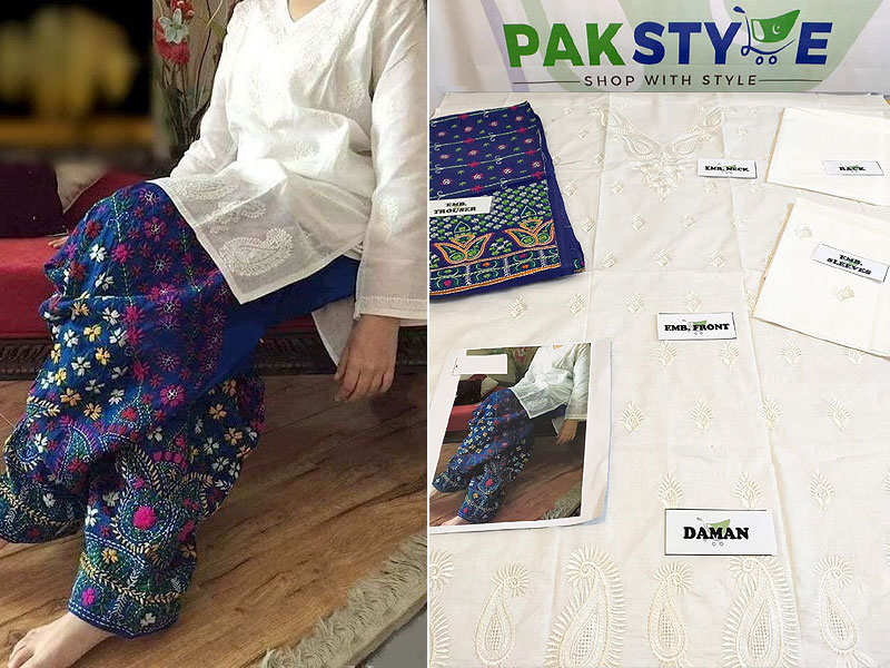 2-Pcs Embroidered Cotton Lawn Dress with Blue Phulkari Embroidered Trouser