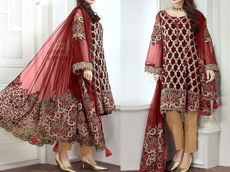 Embroidered Maroon Chiffon Suit with Net Dupatta Price in Pakistan