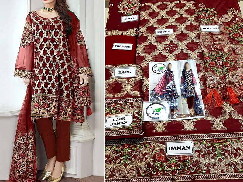 Embroidered Maroon Chiffon Suit with Net Dupatta