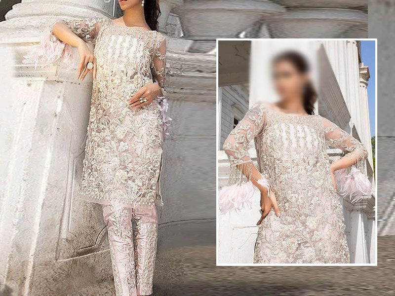 Heavy Embroidered Net Party Dress with Embroidered Net Dupatta