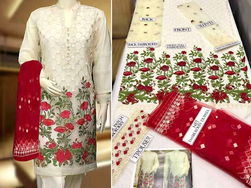 Heavy Embroidered Net Dress with Embroidered Dupatta Price in Pakistan