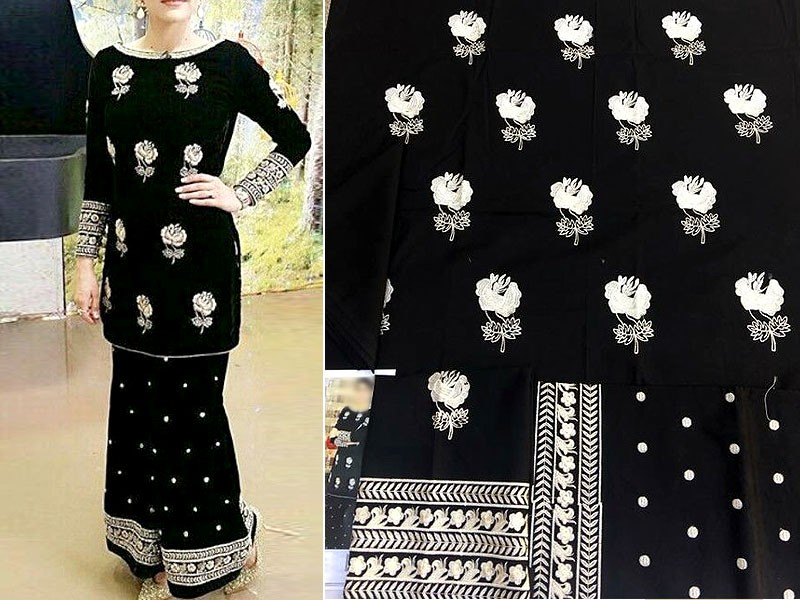 2-Pcs Heavy Embroidered Cotton Dress with Embroidered Trouser