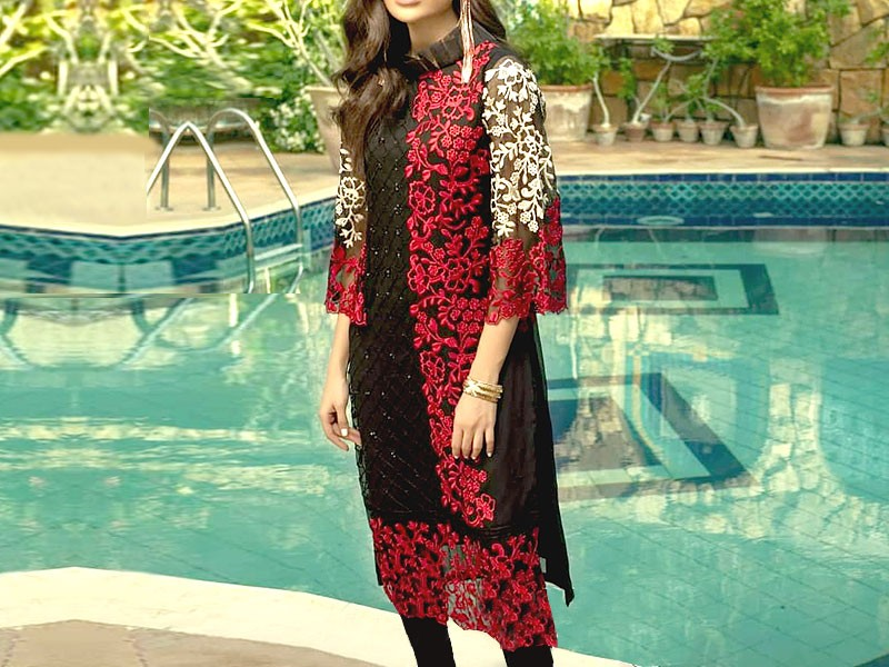 Unstitched Heavy Embroidered Chiffon Kurti with Inner
