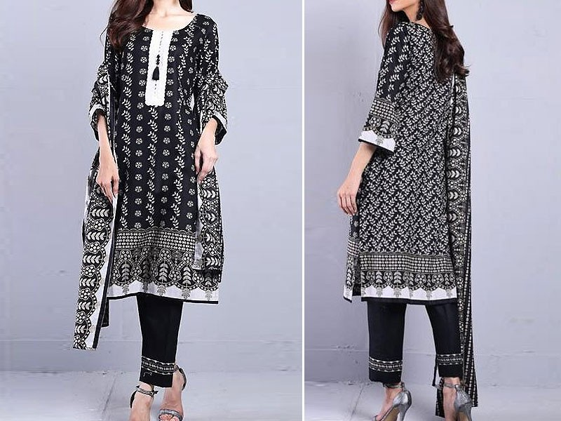 Sahil Unstitched Printed Black Lawn Suit with Lawn Dupatta Price in Pakistan