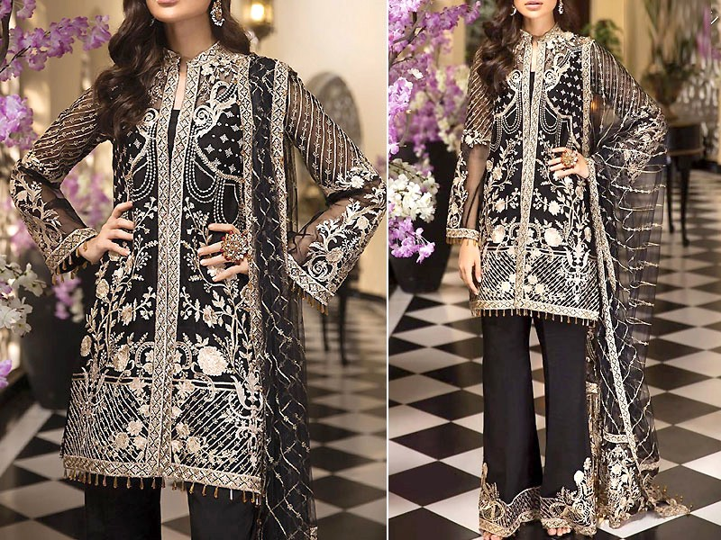 Heavy Embroidered Black Organza Dress with Net Dupatta