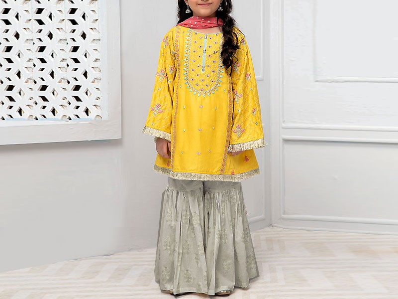 Kids 2-Pcs Embroidered Yellow Linen Dress
