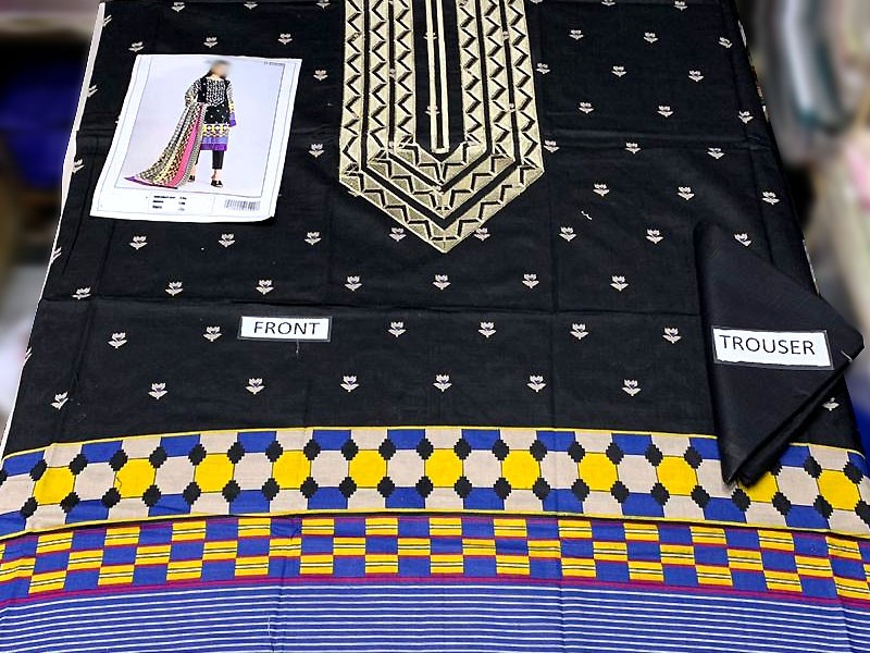 Embroidered Black Khaddar Dress with Wool Shawl Dupatta