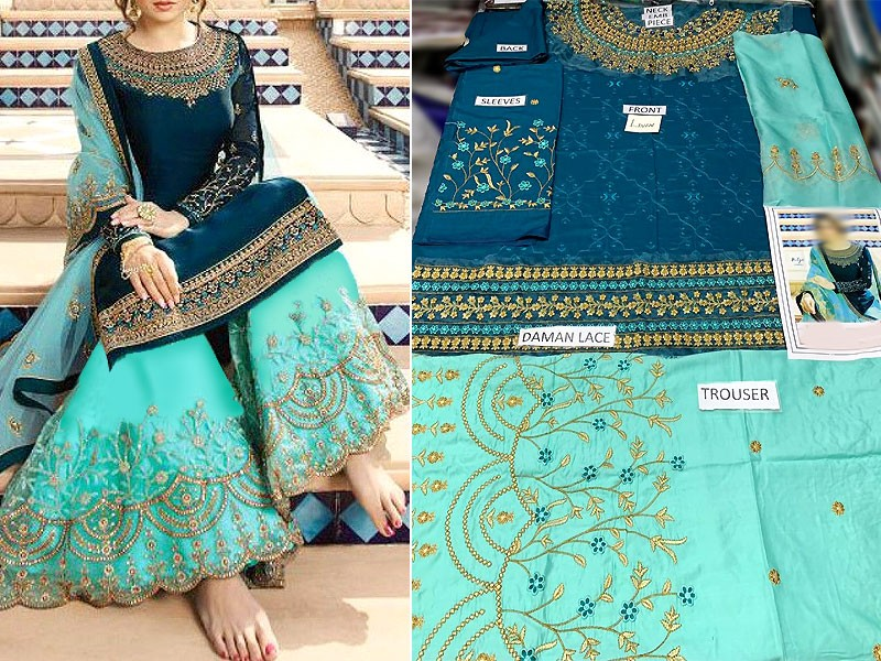 Heavy Embroidered Linen Dress with Embroidered Chiffon Dupatta