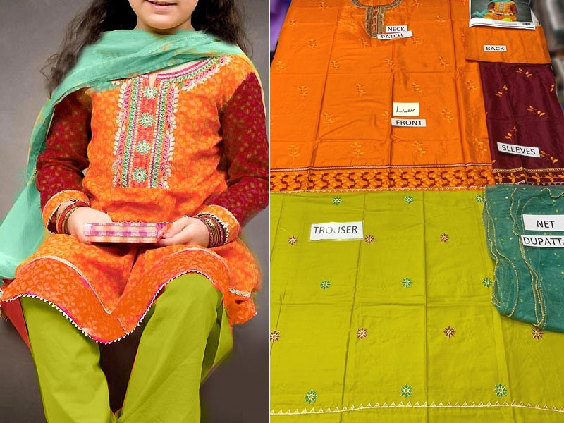 Kids 3-Pcs Embroidered Linen Suit with Net Dupatta