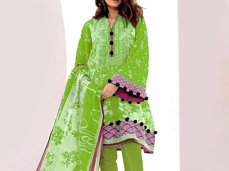 Embroidered Linen Suit with Chiffon Dupatta