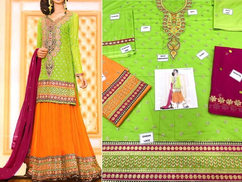 Heavy Embroidered Cotton Dress with Chiffon Dupatta