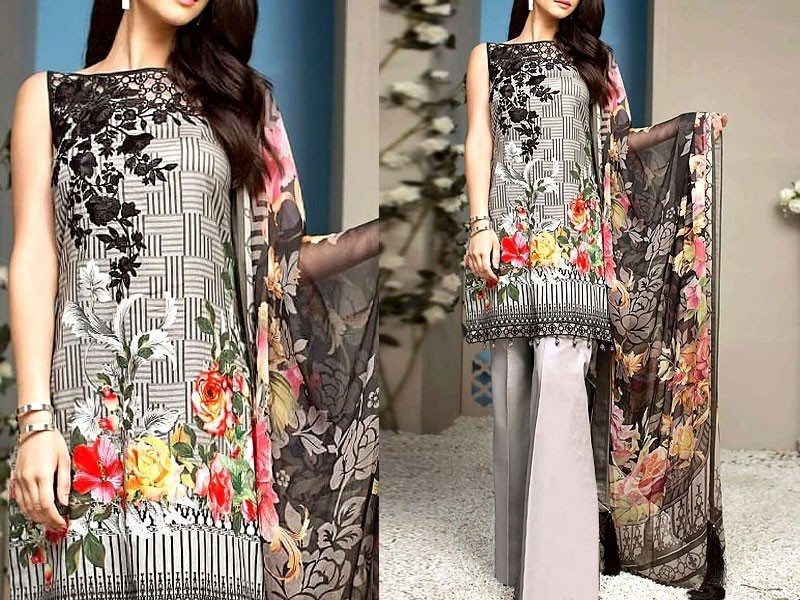 Embroidered Linen Dress with Chiffon Dupatta
